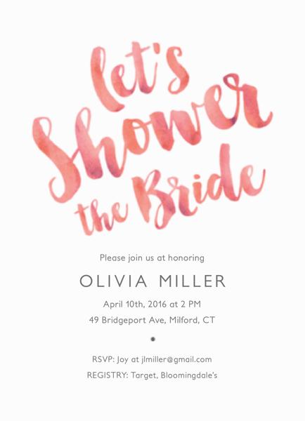 Pink Brush Bridal Shower Invite