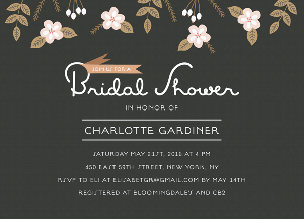 Charcoal Bridal Shower Invitation