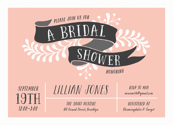 Floral Banner Bridal Shower Invite