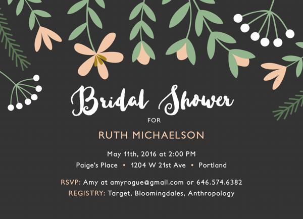Pink Florals Bridal Shower Invite
