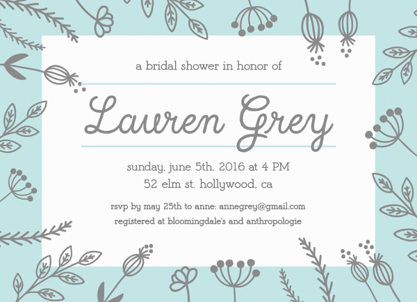 Mint Grey Bridal Shower Invite