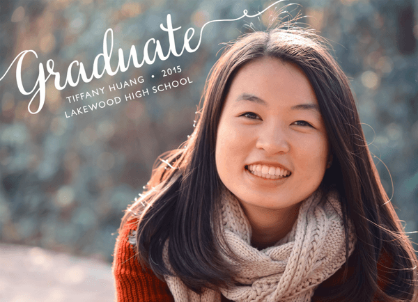 Cursive Lettering Graduation Announcement