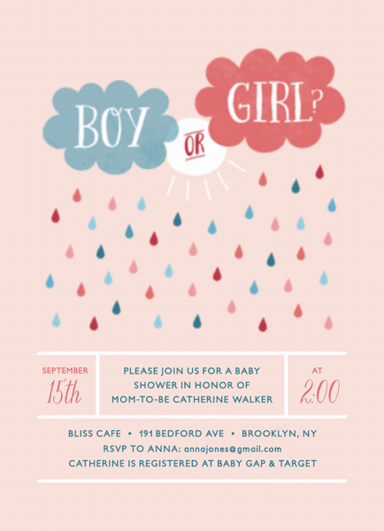 Clouds Boy or Girl Baby Shower Invitation
