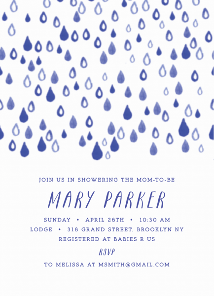 Rain Drops Baby Shower Invite