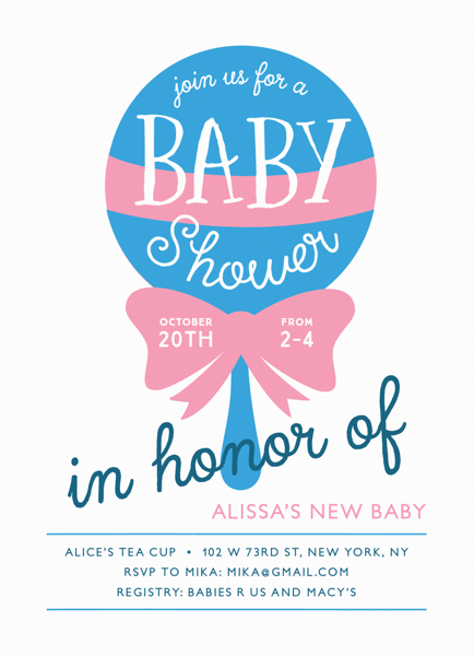 Rattle Custom Baby Shower Invitation