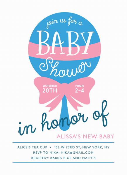 Rattle Custom Baby Shower Invitation