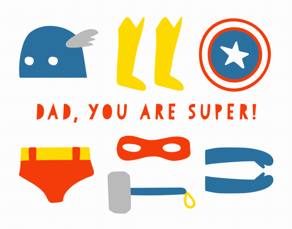 Superhero Costume Father's Day Card