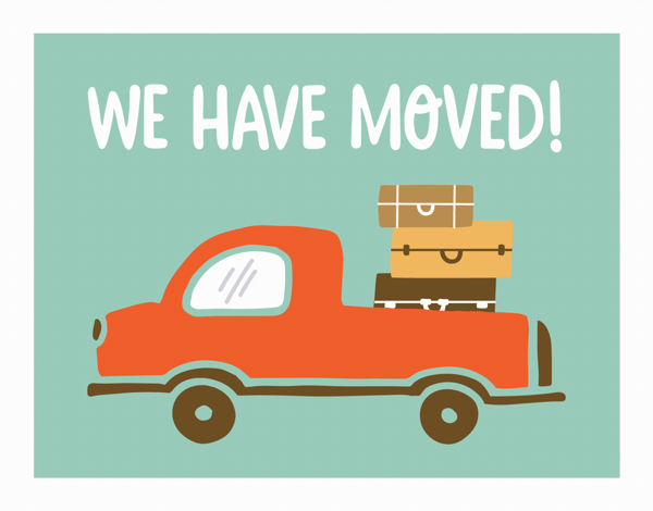 Bright Truck We are Moving Card