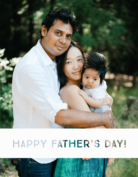 Simple White Stripe Father's Day Card