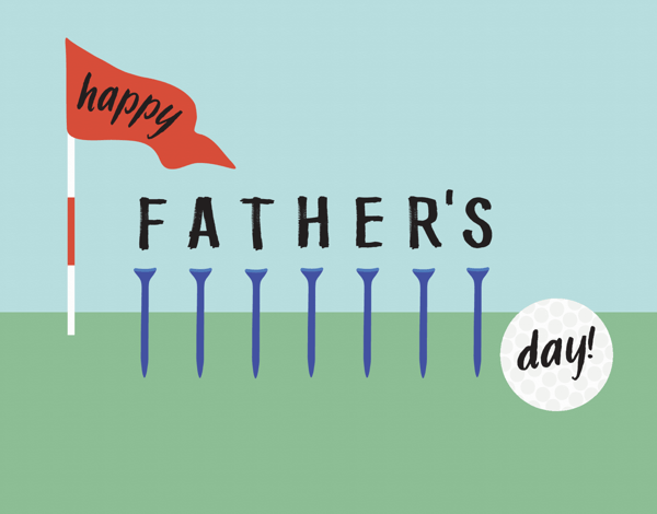 Golf Tees Father's Day Illustrated Card