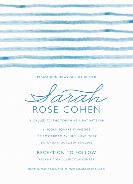 Watercolor Bar and Bat Mitzvah Invite