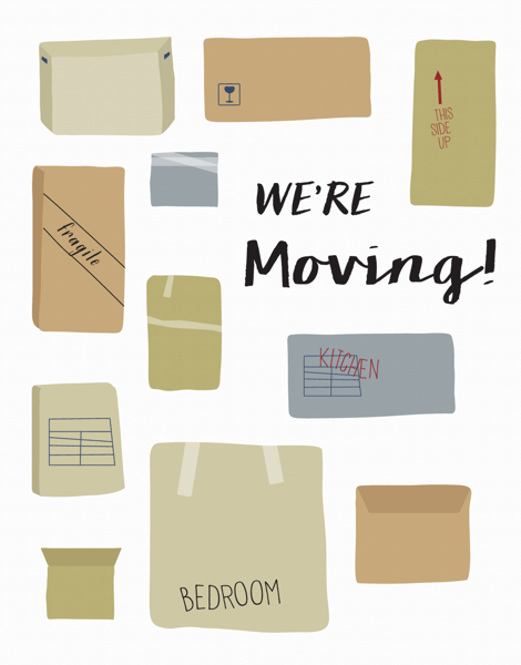 We're Moving Card with Cardboard Boxes