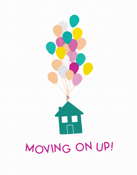 Flying House with Balloons Moving Card