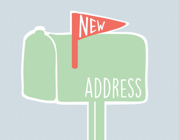 Graphic Mailbox New Address Card