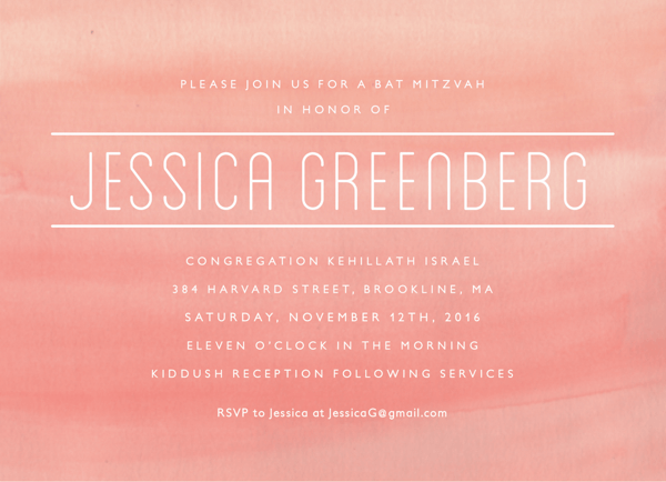 Blush Watercolor Bat Mitzvah Invite
