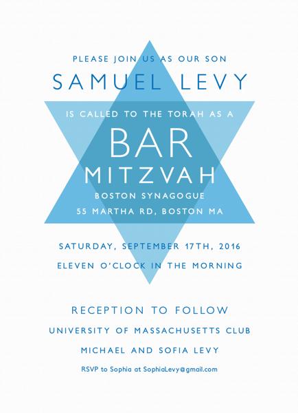 Modern Star of David Bar Mitzvah Invite