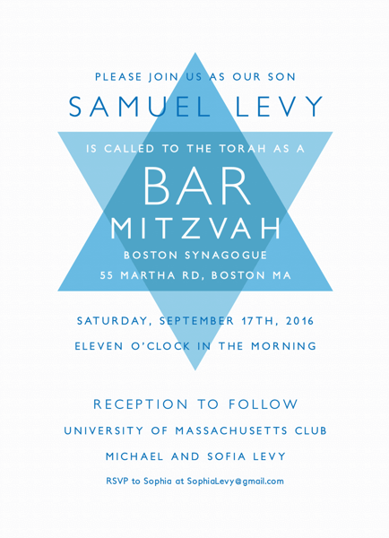 Modern Star of David Bar Mitzvah Invite