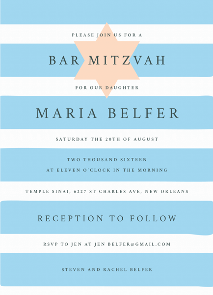 Star and Stripes Bat Mitzvah Invite