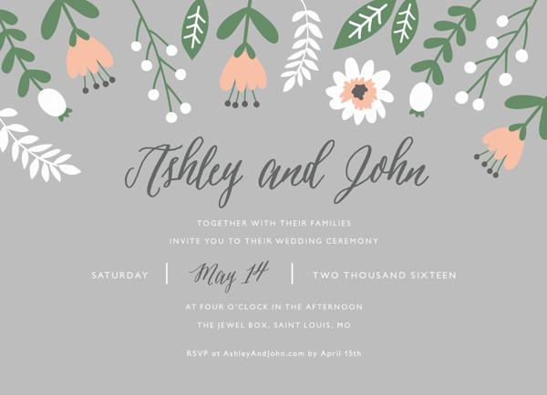 Floral Gray Wedding Invite