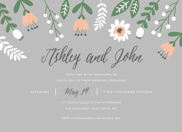 Floral Gray Wedding Invite