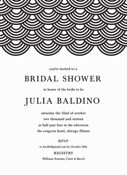 Wave Pattern Bridal Shower Invite