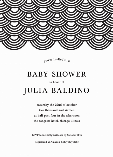 Wave Pattern Baby Shower Invite