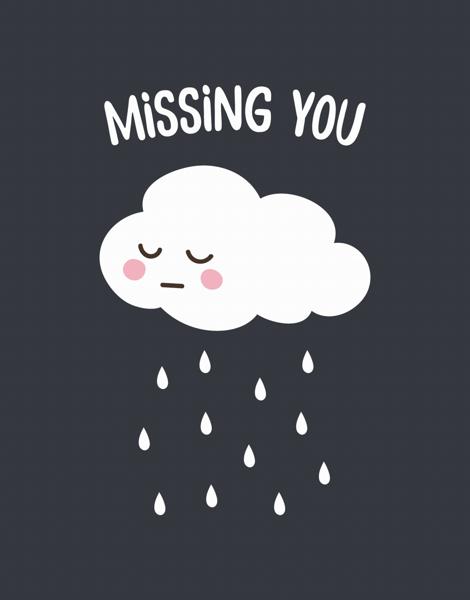 Cartoon Cloud Miss You Card