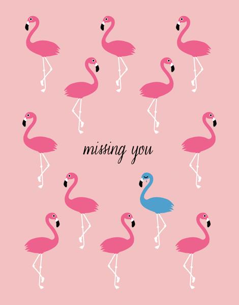 Pink Flamingos Miss You Card