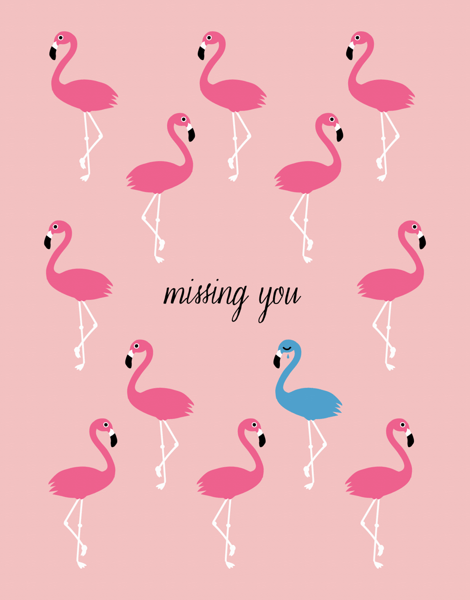 Pink Flamingos Miss You Card