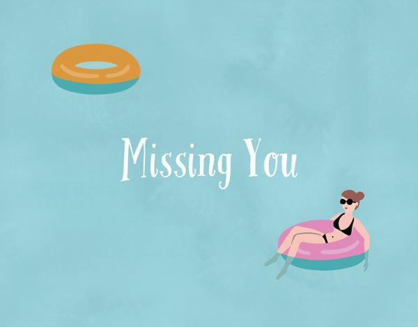 Swimming Pool Float I Miss You Card