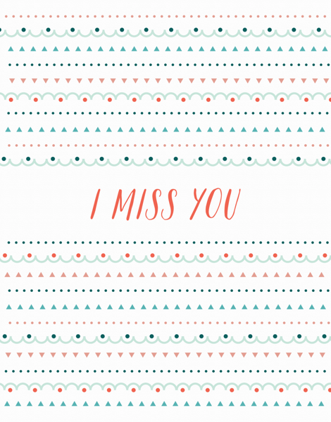 Patterned I Miss You Card