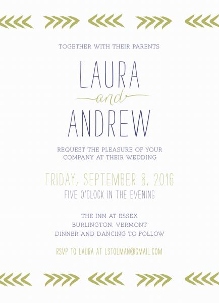 Chevron Brushstrokes Wedding Invitation