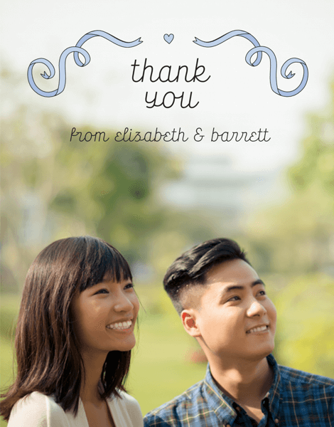 Blue Ribbons Custom Photo Thank You Card
