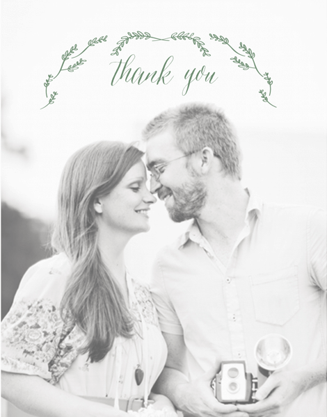 Leafy Wreath Photo Wedding Thank You Card