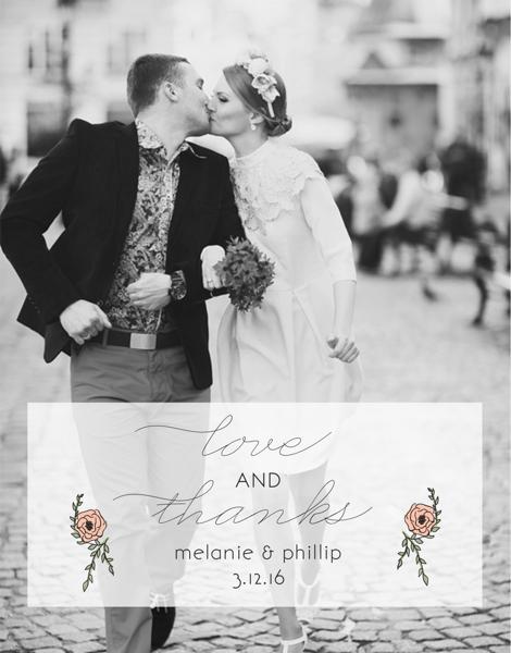 Roses Photo Wedding Thank You Card