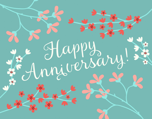 Blooming Branches Anniversary Card