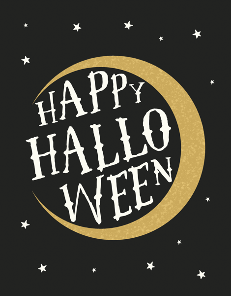 Gold Moon Halloween Card