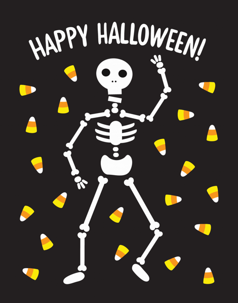 Skeleton and Candy Corn Halloween Card