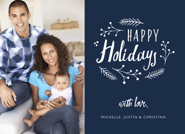Beautiful Blue Floral Wreath Holiday Card