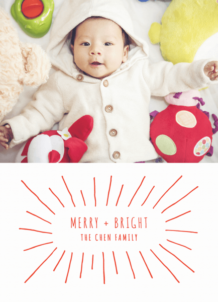 minimalistic merry and bright holiday photo card