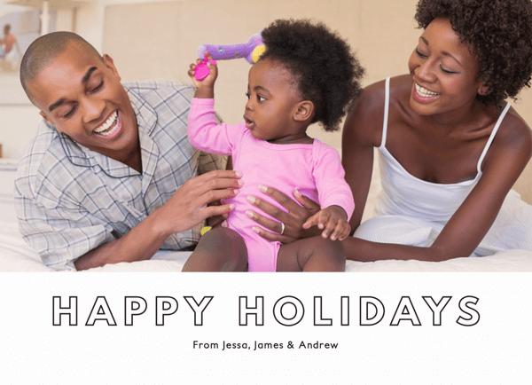 Custom Photo Outlined Happy Holidays Card