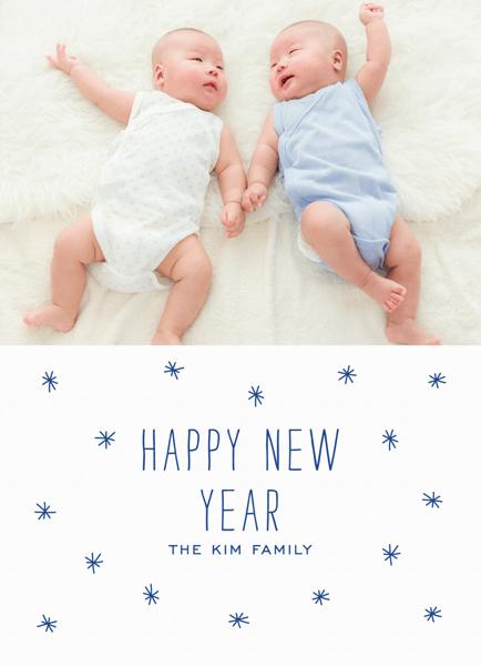 Custom Photo Starry New Year Card