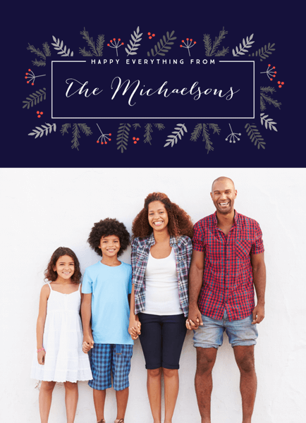 Classy Floral Bunch Happy Everything Holiday Card