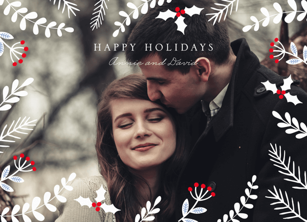 Floral Overlay Custom Photo Holiday Card