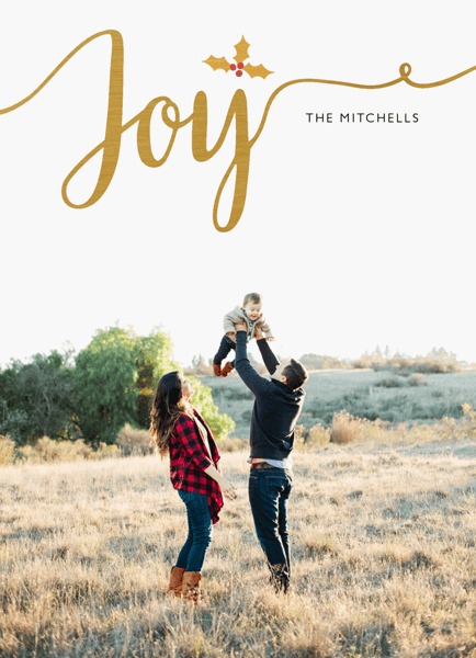 Gold Joy Script Photo Holiday Card