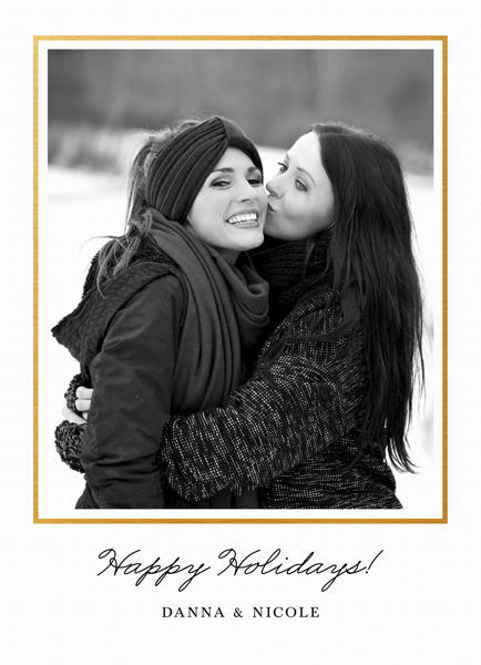 minimalist holiday photo template with thin gold border