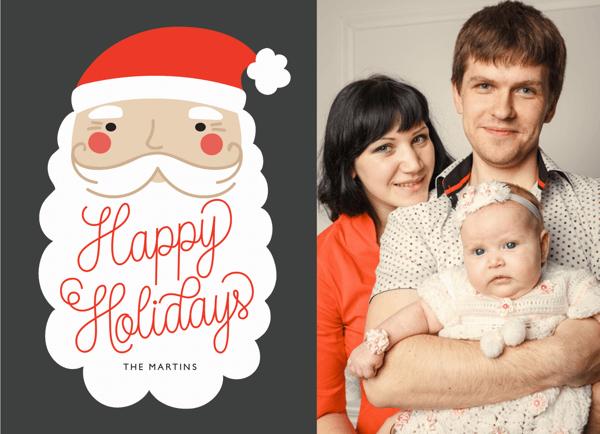 Santa Face Custom Holiday Card
