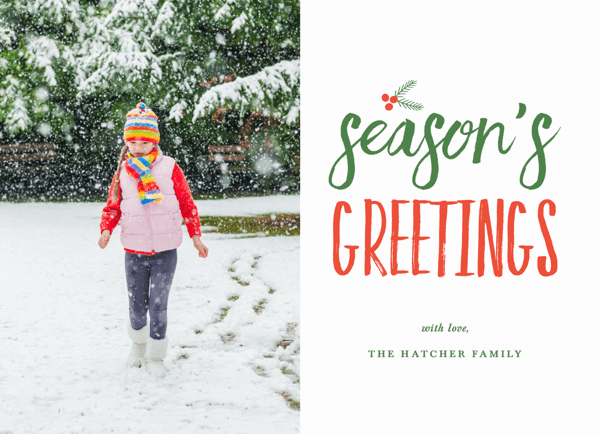 scripted seasons greetings photo card