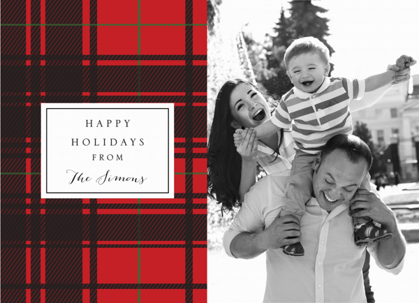 Red Plaid Photo Holiday Card
