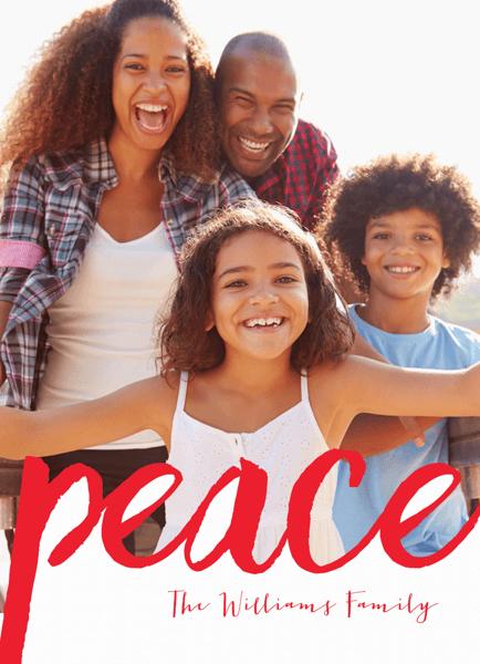 Peace Brush Shape Photo Holiday Card